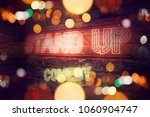 stand up comedy neon sign... | Shutterstock . vector #1060904747