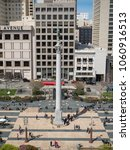 Small photo of SAN FRANCISCO, CA - MARCH 31, 2018: High view of Union Square (Dewey Monument). This is a popular tourist spot.
