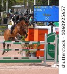Small photo of WEST PALM BEACH, FLORIDA - March 30, 2018: Patricia Hurter and Contender's Girl competing at week 1 of the Winter Equestrian Festival in Wellington, Florida