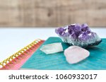 journals with crystals on white ... | Shutterstock . vector #1060932017
