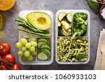 vegan meal prep containers with ... | Shutterstock . vector #1060933103
