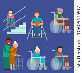 disabled handicapped diverse... | Shutterstock .eps vector #1060951907