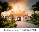 beautiful landscape of wat arun ... | Shutterstock . vector #1060962743