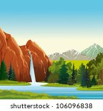 Summer green landscape with beautiful waterfall, forest and mountains on a blue sky - stock vector