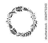 floral rustic branch wreath for ... | Shutterstock .eps vector #1060973243