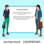 young women poster with white... | Shutterstock .eps vector #1060980383