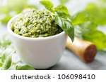 closeup of freshly made pesto - stock photo
