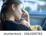 tired stressed out mother... | Shutterstock . vector #1061000783