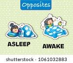 opposite asleep and awake... | Shutterstock .eps vector #1061032883