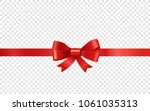 red ribbon on transparent... | Shutterstock .eps vector #1061035313