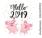 vector illustration  hello 2019 ... | Shutterstock .eps vector #1061045903