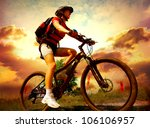 happy young woman riding... | Shutterstock . vector #106106957
