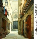 street in Gothic quarter of Barcelona, illustration, painting - stock photo