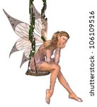 Pretty blonde fairy with pink dress and wings sitting on a swing and day-dreaming, 3d digitally rendered illustration - stock photo