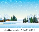 Winter landscape with houses, forest and frozen lake - stock vector