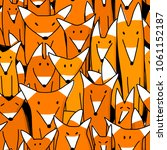 foxes big family  seamless... | Shutterstock .eps vector #1061152187