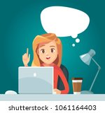 girl with idea bubble with... | Shutterstock .eps vector #1061164403