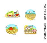 farming logo collection in line ... | Shutterstock .eps vector #1061167157