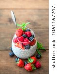 chia. superfoods breakfast with ... | Shutterstock . vector #1061167247