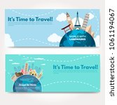 it s time to travel.trip to...   Shutterstock .eps vector #1061194067