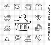 white series   shopping icon set
