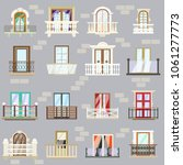 different balcony set. colored... | Shutterstock .eps vector #1061277773