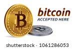 bitcoin accepted sign emblem.... | Shutterstock .eps vector #1061286053