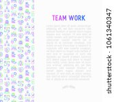 teamwork concept with thin line ... | Shutterstock .eps vector #1061340347