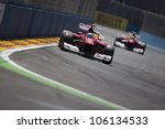 VALENCIA, SPAIN - JUNE 24: Fernando Alonso in the Formula 1 Grand Prix of Europe, Valencia Street Circuit. Spain on June 24, 2012 - stock photo