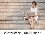 very beautiful elegant asian... | Shutterstock . vector #1061378957