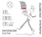 the clerk carries a bunch of... | Shutterstock .eps vector #1061380703
