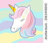 unicorn cute cartoon in flat... | Shutterstock .eps vector #1061443043