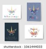 unicorn head horn in floral... | Shutterstock .eps vector #1061444033