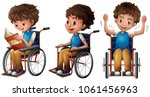 boy in wheelchair doing three... | Shutterstock .eps vector #1061456963