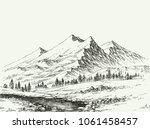 mountains landscape sketch.... | Shutterstock .eps vector #1061458457