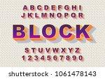 80's retro alphabet font. 3d... | Shutterstock .eps vector #1061478143