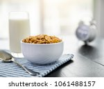 healthy corn flakes with milk... | Shutterstock . vector #1061488157