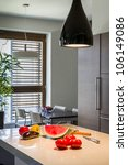 Kitchen corner with fruits in a new apartment - stock photo