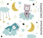 Stock vector seamless childish pattern with cute bears on clouds moon stars creative scandinavian style kids 1061504933