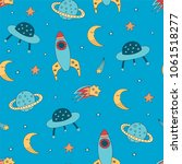 space pattern for a boy's... | Shutterstock .eps vector #1061518277