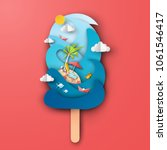 Design the sea in ice cream shape with beach equipment on red background. Graphic design for Summer. Paper art and craft style. vector, illustration.   Shutterstock vector #1061546417