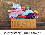 donation box with children's... | Shutterstock . vector #1061556257
