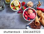 tubs of fresh fruit with ice... | Shutterstock . vector #1061665523