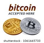 bitcoin accepted sign emblem.... | Shutterstock .eps vector #1061665733