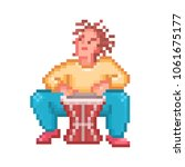 Man Playing Djembe  Pixel Art...