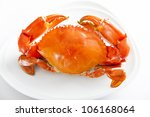Boiled crabs prepared on plate. - stock photo