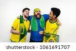 group of soccer brazilians fans ... | Shutterstock . vector #1061691707