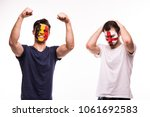 happy football fan of belgium... | Shutterstock . vector #1061692583