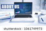 about us text on modern laptop... | Shutterstock . vector #1061749973