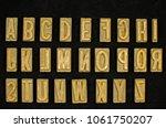 vintage brass typeset... | Shutterstock . vector #1061750207